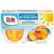 Dole Diced No Sugar Added Peach Bowls