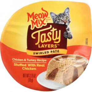 Meow Mix Tasty Layers Swirled Pate Chicken & Turkey Recipe