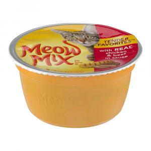 Meow Mix Tender Favorites With Real Chicken & Beef In Sauce