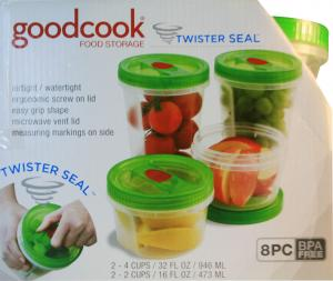Goodcook Twister Seal Food Storage Containers 8 Piece