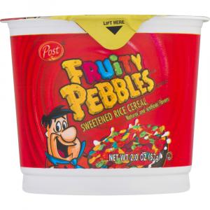 Post fruity Pebbles Sweetened Rice Cereal Single Serve Cup