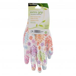 Handmaster Women's Polyurethane Coated Floral Medium Gloves