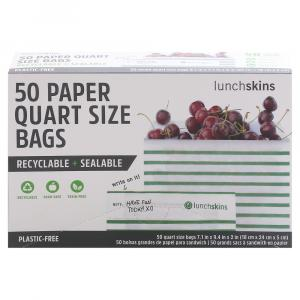 Lunchskins Quart Size Paper Bags Green Stripe