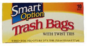 Smart Option Trash Bags W/twist Ties