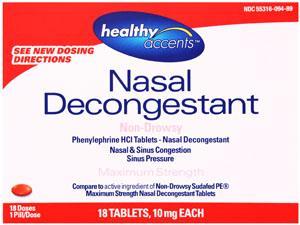 Healthy Accents Pe Non-drowsy Nasal Decongestant