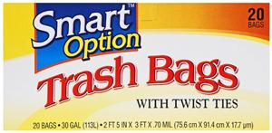 Smart Option Trash Bags W/twist Ties