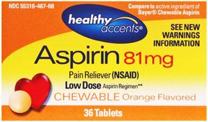 Healthy Accents Low Dose Chewable Aspirin