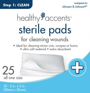 "Healthy Accents Sterile Pads 2"" X 2"" 12-ply"