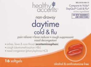 Healthy Accents Daytime Cold & Flu Pain Reliever Softgels