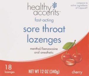 Healthy Accents Sore Throat Lozenges Cherry