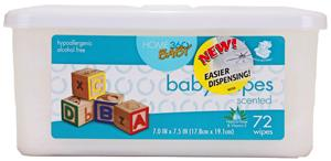 Home 360 Baby Scented Wipes Tub