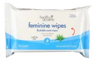 Healthy Accents Feminine Flushable Moist Wipes Refill