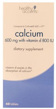 Healthy Accents 600 Mg Calcium With Vitamin D