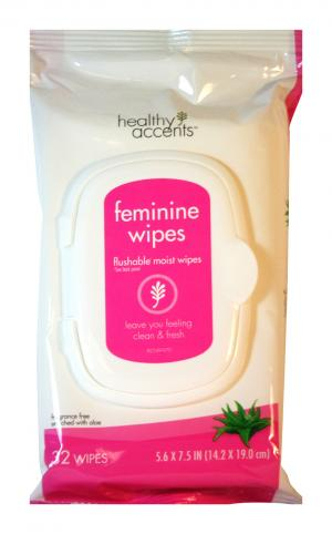 Healthy Accents Feminine Wipes Fragrance Free Aloe