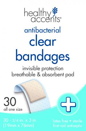 "Healthy Accents Clear 3/4"" Bandages"