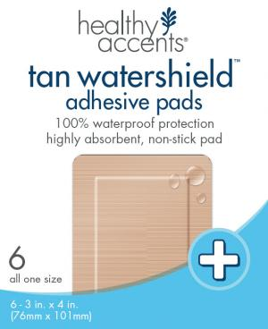 "Healthy Accents Tan Watershield Adh Pads 3"" X 4"""