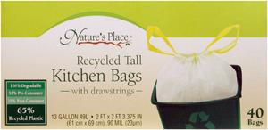 Nature's Place 13-gallon Recycle Trash Bags W/drawstrings