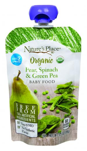 Nature's Place Organic Pear, Spinach & Green Pea Baby Food