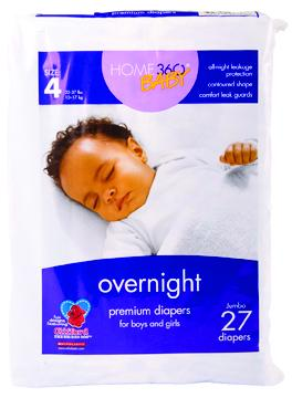 Home 360 Baby Overnight Size 4 Jumbo Diapers