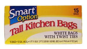 Smart Option Tall Kitchen Bags W/twist Ties