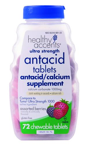 Healthy Accents Ultra Strength Antacid Chew Tablets Berries