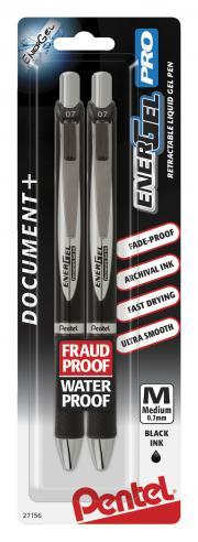 Pentel Energel Black Pens Retractable