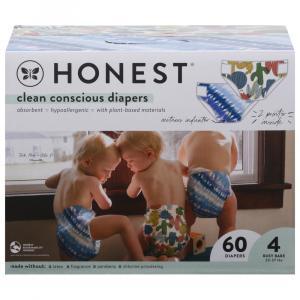 Honest Gentle + Absorbent Panda/Multicolored Giraffe Diapers