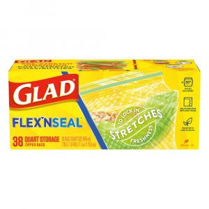 Glad Flex'n Seal Quart Storage Zipper Bags