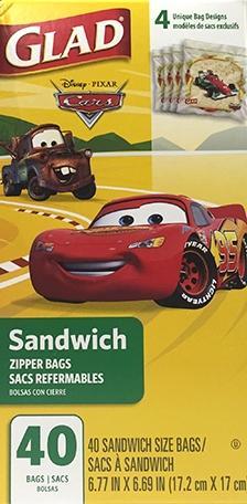 Glad Zipper Sandwich Cars Bags