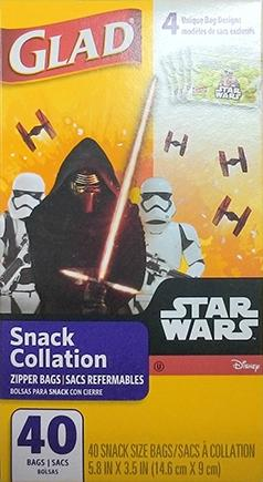 Glad Zipper Snack Bags Star Wars