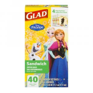 Glad Zipper Sandwich Frozen Bags
