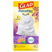 Glad Odor Shield Tall Kitchen Drawstring Bags Lavender