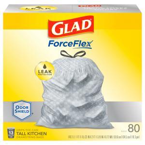 Glad 13-gallon Forceflex Tall Kitchen Drawstring White Bags