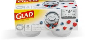 Glad Home Collection Metallic Mini Round Containers