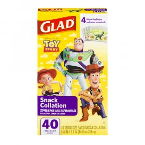 Glad Zipper Snack Toy Story Bags