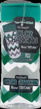 Fit & Fresh Green Gray Chevron Water Bottle