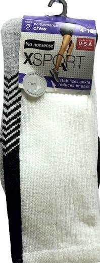 No nonsense Sport Crew Socks, Black / White Size 4 - 10