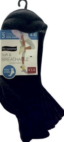 No nonsense Soft & Breathable Mini Crew Socks, Black