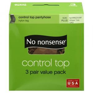 No nonsense Control Top Queen Size Tan Pantyhose