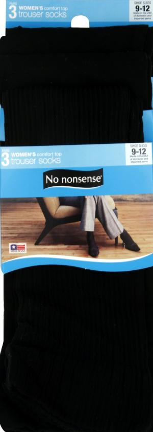 No nonsense Trouser Socks, Rib, Flat, Diamond, Black, 9-12
