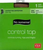 No nonsense Queen Size Control Reinforced Toe Nude Pantyhose