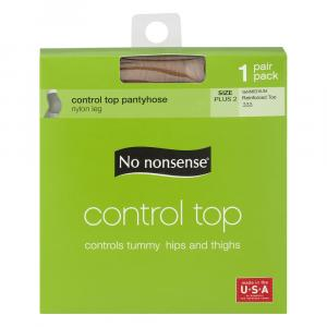 No nonsense Queen Control Top Reinforced Toe Tan Pantyhose