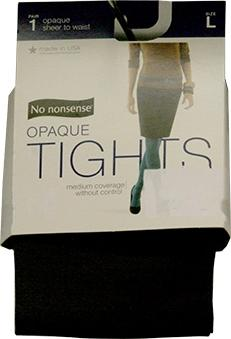 No Nonsense Opaque Sheer to Waist Tights, Large, Cobblestone