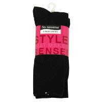No Nonsense Nylon Rib Crew Black Socks