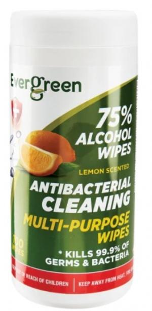 Evergreen Antibacterial Cleaning 75% Alcohol Wipes