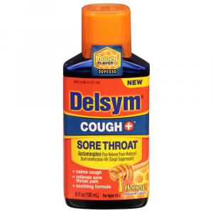 Delsym Cough+ Sore Throat Honey Flavored