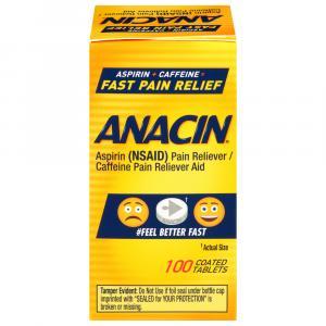 Anacin Aspirin Caffeine Pain Reliever Aid Coated Tablets