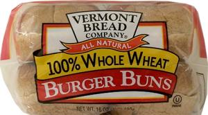 Vermont Bread 100% Whole Wheat Hamburger Buns