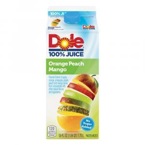 Dole No Sugar Added 100% Orange Peach Mango Juice