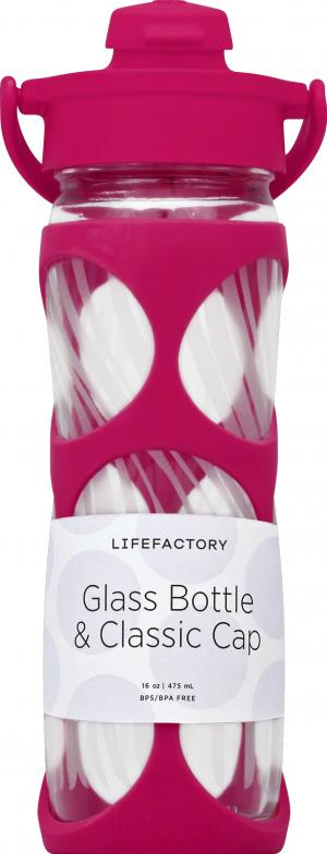 LifeFactory Glass Water Bottle Pink 16 Oz.